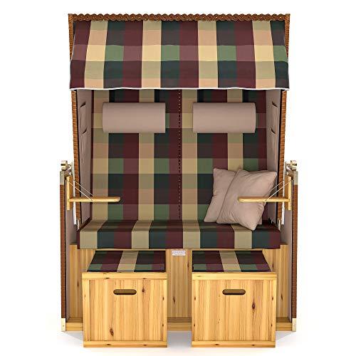 SANZARO Strandkorb XL 120 cm Deluxe Zweisitzer   Holz und Poly-Rattan   Sylt Ostsee Volllieger   inkl. 4 Kissen klappbare Rückenlehne   Rot-Beige-Grün Karo - 3