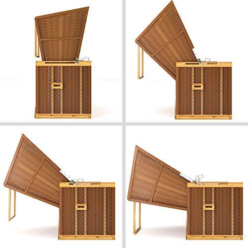 SANZARO Strandkorb XL 120 cm Deluxe Zweisitzer   Holz und Poly-Rattan   Sylt Ostsee Volllieger   inkl. 4 Kissen klappbare Rückenlehne   Rot-Beige-Grün Karo - 6