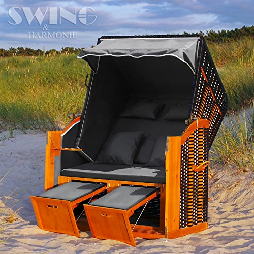 Swing & Harmonie Strandkorb XL - 118cm Rügen Ostsee Sonneninsel Rattan Möbel Polyrattan (anthrazit)
