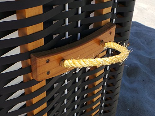Swing & Harmonie Strandkorb XL – 118cm Rügen Ostsee Sonneninsel Rattan Möbel Polyrattan (anthrazit) - 7