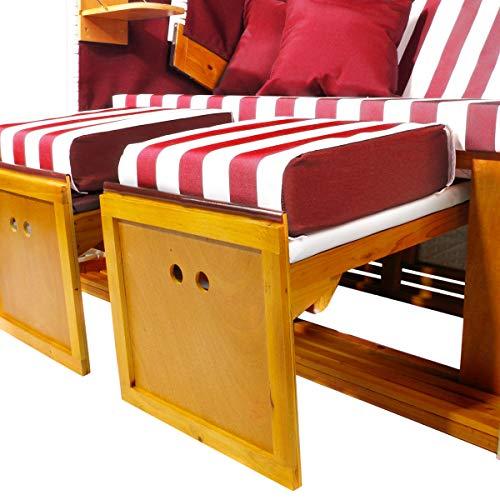 BRAST Strandkorb Nordsee XXL Volllieger Weiß Rot gestreift incl. Schutzhülle 2 Sitzer 120cm breit Gartenliege Sonneninsel Poly-Rattan - 4