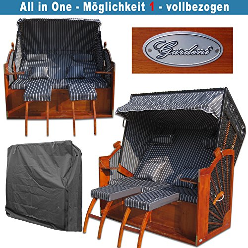 XINRO® Volllieger Strandkorb XXL anthrazit günstig kaufen # inkl. Schutzhülle # 2 Bezüge (Grundbezug + abnehm- und waschbarer Wechselbezug) - 3