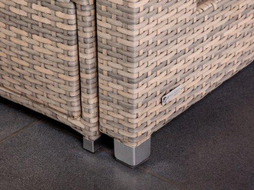 greemotion Rattan-Lounge Bahia Twin, Sofa & Bett aus Polyrattan, indoor & outdoor, 2er Garten-Sofa mit Stahl-Gestell, Daybed zweigeteilt, grau-bicolor - 4