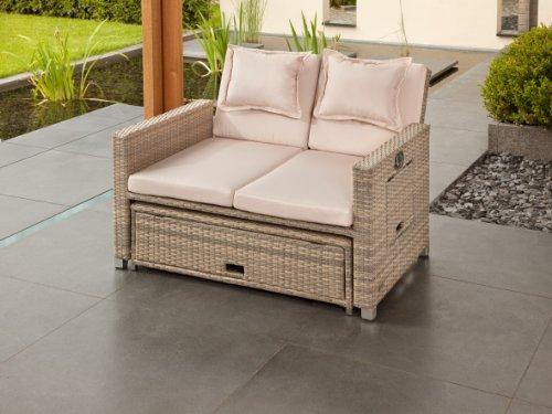 greemotion Rattan-Lounge Bahia Twin, Sofa & Bett aus Polyrattan, indoor & outdoor, 2er Garten-Sofa mit Stahl-Gestell, Daybed zweigeteilt, grau-bicolor - 7
