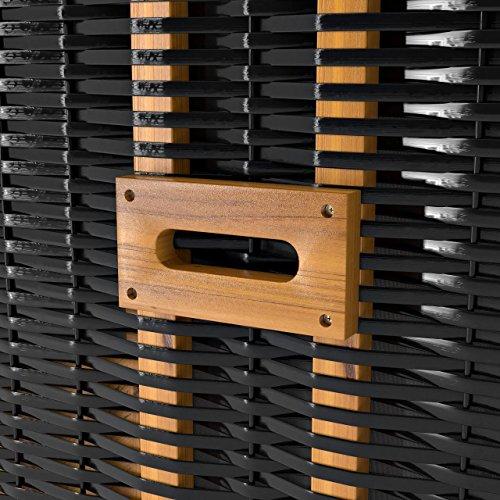 Sanzaro Strandkorb XL120 cm Deluxe Zweisitzer Holz und Poly-Rattan Volllieger 4 x Kissen klappbare Rückenlehne 2 Personen Grau Nadelstreifen - 6
