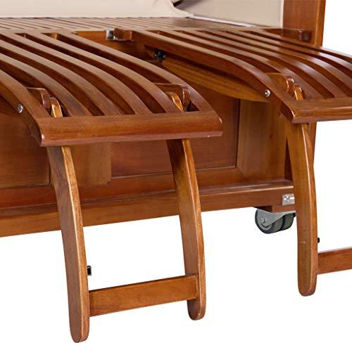 Luxus Mahagoni XXL Strandkorb Volllieger für 2 Personen aus Hartholz Grau-Weiß Gestreift – Aufgebaut und Einsatzbereit Strandkorbwelt365 - 5