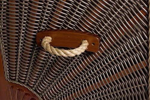 Luxus Mahagoni XXL Strandkorb Volllieger für 2 Personen aus Hartholz Grau-Weiß Gestreift – Aufgebaut und Einsatzbereit Strandkorbwelt365 - 6