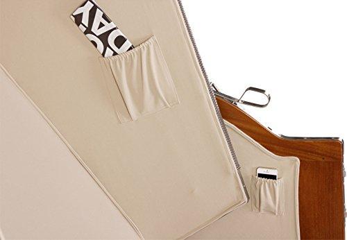 Luxus Mahagoni XXL Strandkorb Volllieger für 2 Personen aus Hartholz Grau-Weiß Gestreift – Aufgebaut und Einsatzbereit Strandkorbwelt365 - 7