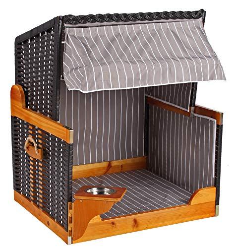 Mr. Deko Hundestrandkorb PE schwarz Dessin grau gestreift ohne Schutzhülle für Garten, Terrassen, Wohnzimmer, Strandkörbe, Hundekorb, Körbchen, Strandkorb, Hund, Katze, Hundebett, Napf, Hundehütte