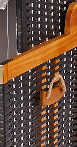 Mr. Deko Hundestrandkorb PE schwarz Dessin grau gestreift ohne Schutzhülle für Garten, Terrassen, Wohnzimmer, Strandkörbe, Hundekorb, Körbchen, Strandkorb, Hund, Katze, Hundebett, Napf, Hundehütte - 4