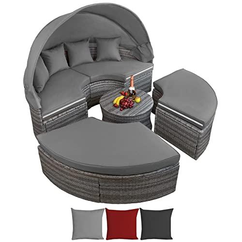 Montafox 13-teilige Polyrattan Lounge Muschel Sonneninsel Sonnendach Klappbar Zierkissen Auflagen 10 cm Dicke, Farbe:Kieselstrand