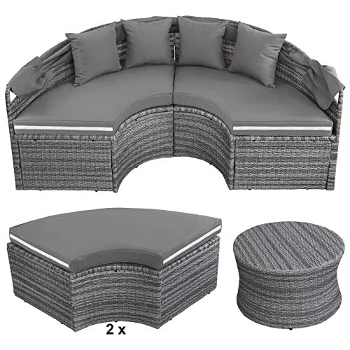 Montafox 13-teilige Polyrattan Lounge Muschel Sonneninsel Sonnendach Klappbar Zierkissen Auflagen 10 cm Dicke, Farbe:Kieselstrand - 3