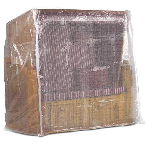Strandkorb Schutzhülle 150 cm breit in Transparent, Strandkorbhülle mit Reißverschluss, Strandkorbabdeckung
