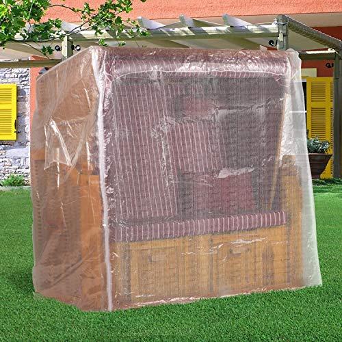 Strandkorb Schutzhülle 150 cm breit in Transparent, Strandkorbhülle mit Reißverschluss, Strandkorbabdeckung - 8