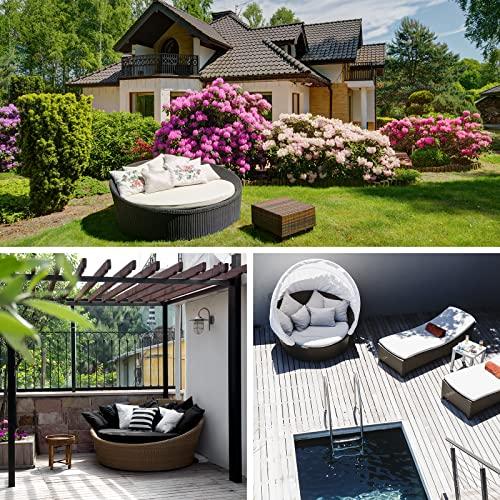 BB Sport 13-teilige Polyrattan Lounge Muschel Sonneninsel Sonnendach Klappbar Zierkissen Auflagen 10 cm Dicke, Farbe:Titan-Schwarz/Kieselstrand - 6