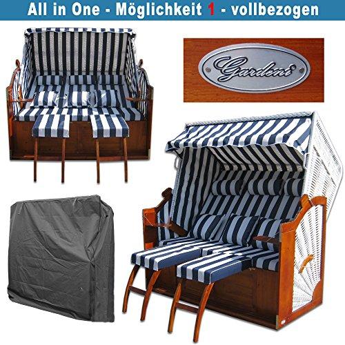 Strandkorb XXXL # 2,5-Sitzer XXXL Strandkorb breit # Ostsee Strandkorb # 2x komplett wechselbare BEZÜGE # uni Bezug blau # +BONUS Bezug blau gestreift # inkl. Strandkorbhülle # Polyrattan: weiss - 3