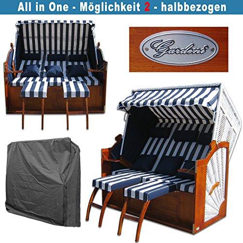 Strandkorb XXXL # 2,5-Sitzer XXXL Strandkorb breit # Ostsee Strandkorb # 2x komplett wechselbare BEZÜGE # uni Bezug blau # +BONUS Bezug blau gestreift # inkl. Strandkorbhülle # Polyrattan: weiss - 4