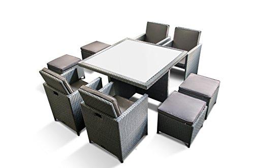 Ragnarök-Möbeldesign PolyRattan - DEUTSCHE Marke - EIGNENE Produktion - 8 Jahre GARANTIE auf UV-Beständigkeit Gartenmöbel Essgruppe Tisch + 4 Stühle & 4 Hocker 12 Polster Platinum Grau