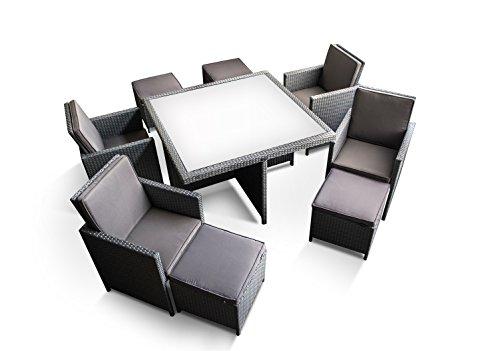 Ragnarök-Möbeldesign PolyRattan – DEUTSCHE Marke – EIGNENE Produktion – 8 Jahre GARANTIE auf UV-Beständigkeit Gartenmöbel Essgruppe Tisch + 4 Stühle & 4 Hocker 12 Polster Platinum Grau - 7