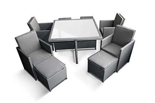 Ragnarök-Möbeldesign PolyRattan – DEUTSCHE Marke – EIGNENE Produktion – 8 Jahre GARANTIE auf UV-Beständigkeit Gartenmöbel Essgruppe Tisch + 4 Stühle & 4 Hocker 12 Polster Platinum Grau - 8