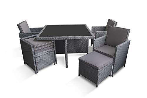 Ragnarök-Möbeldesign PolyRattan – DEUTSCHE Marke – EIGNENE Produktion – 8 Jahre GARANTIE auf UV-Beständigkeit Gartenmöbel Essgruppe Tisch + 4 Stuhl 4 Hocker 12 Polster Platinumsilber Grau - 7
