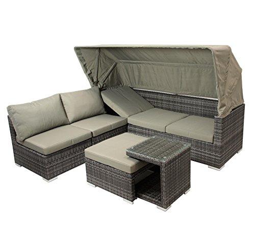 DEGAMO Funktions Loungeset MANACOR 16-teilig, Alu + Geflecht grau Bicolor, Polster taupefarben, XL-Ausführung mit 215cm Breite BZW. 195cm Liegefläche/Sitzbreite - 3