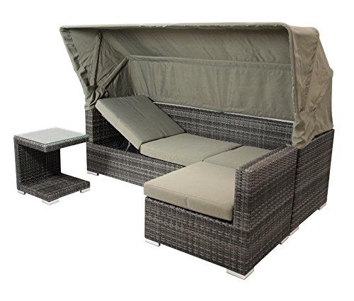 DEGAMO Funktions Loungeset MANACOR 16-teilig, Alu + Geflecht grau Bicolor, Polster taupefarben, XL-Ausführung mit 215cm Breite BZW. 195cm Liegefläche/Sitzbreite - 7