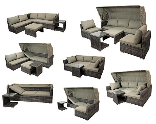 DEGAMO Funktions Loungeset MANACOR 16-teilig, Alu + Geflecht grau Bicolor, Polster taupefarben, XL-Ausführung mit 215cm Breite BZW. 195cm Liegefläche/Sitzbreite - 8