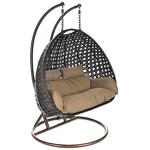 Home Deluxe - Polyrattan Hängesessel - Twin braun - inkl. Gestell, Sitz- und Rückenkissen | Hängestuhl Gartenschaukel Hängekorb