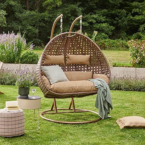 Home Deluxe - Polyrattan Hängesessel - Twin braun - inkl. Gestell, Sitz- und Rückenkissen | Hängestuhl Gartenschaukel Hängekorb - 2