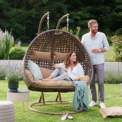 Home Deluxe - Polyrattan Hängesessel - Twin braun - inkl. Gestell, Sitz- und Rückenkissen | Hängestuhl Gartenschaukel Hängekorb - 4