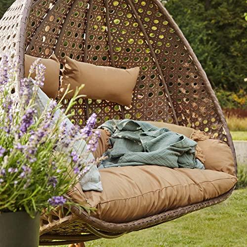 Home Deluxe - Polyrattan Hängesessel - Twin braun - inkl. Gestell, Sitz- und Rückenkissen | Hängestuhl Gartenschaukel Hängekorb - 5