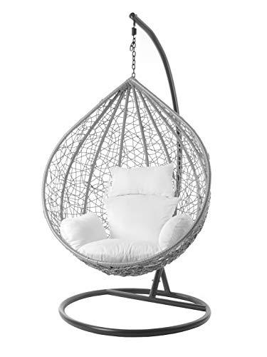 Kideo® Komplettset: großer Hängesessel mit Gestell & Kissen, Indoor & Outdoor, Poly-Rattan, XXL, grau (Kissen: weiß Nest (1000 Snow))