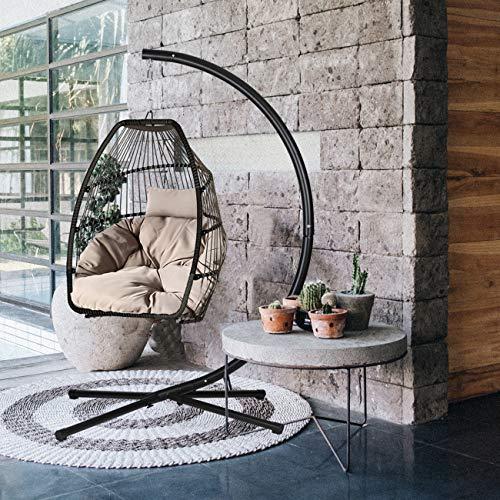 Sekey Hängesessel mit Gestell Kissen, Polyrattan Hängestuhl mit Sitzkissen für Garten und Balkon, Taupe XXL - 2