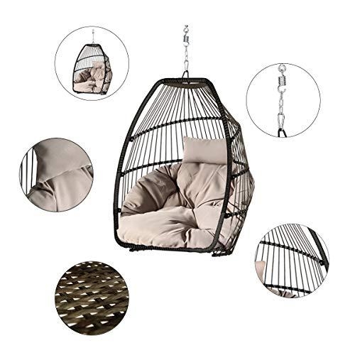 Sekey Hängesessel mit Gestell Kissen, Polyrattan Hängestuhl mit Sitzkissen für Garten und Balkon, Taupe XXL - 3