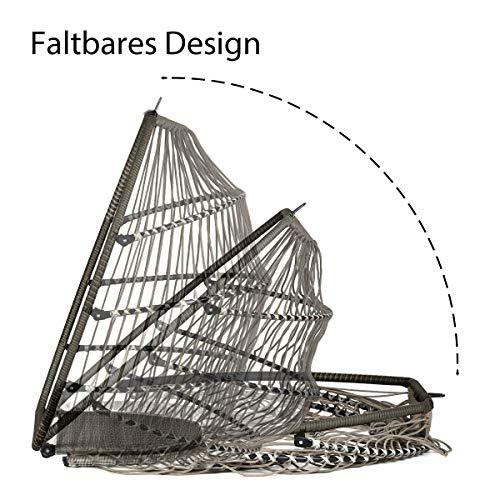 Sekey Hängesessel mit Gestell Kissen, Polyrattan Hängestuhl mit Sitzkissen für Garten und Balkon, Taupe XXL - 4