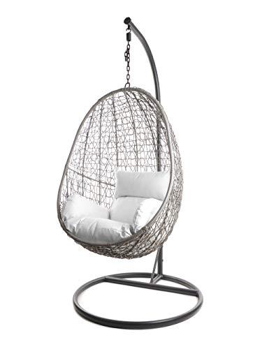 Kideo Komplettset: Hängesessel mit Gestell & Kissen, Indoor & Outdoor, Poly-Rattan (Gestell- und Korbfarbe: grau, Kissen: weiß Nest (1000 Snow))