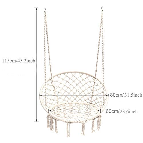 Mertonzo Hängesitz & Hängesessel, Gestrickt von Baumwollseil mit romantischen Fransen Hängematte Swing Sessel für Drinnen/Draußen 120KG Kapazität (Hängemattenhalter und Kissen sind Nicht Enthalten) - 2