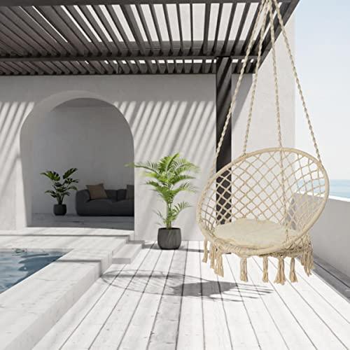 Pureday Hängesessel Nizza – mit rundem Sitzkissen – Outdoorgeeignet – Sitzfläche ca. Ø 55 cm – Belastbarkeit max. 100 kg - 3