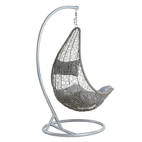 ESTEXO Hängesessel für eine Person mit Gestell, Einsitzer, Polyrattan, Hängekorb, Hänge Schaukel, wetterfest – Grau/Silber - 5