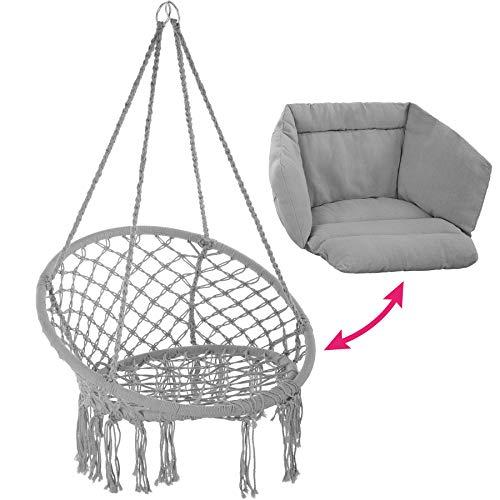 TecTake 800708 Hängesessel zum Aufhängen, Indoor und Outdoor, Ø Sitzfläche: ca. 60 cm, robuste Konstruktion, inkl. großem weichem Kissen – Diverse Farben – (Grau | Nr. 403204) - 3