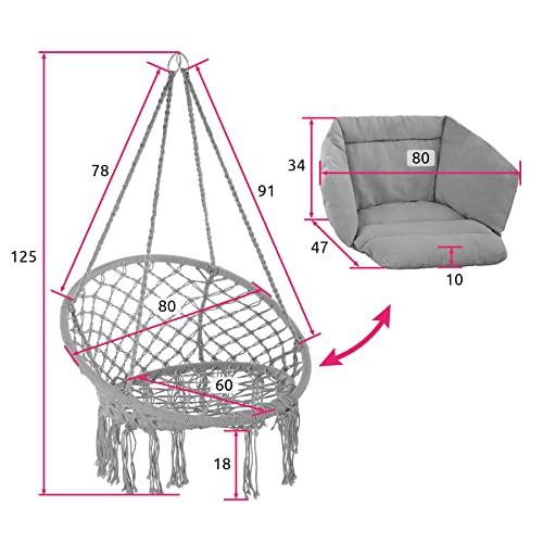 TecTake 800708 Hängesessel zum Aufhängen, Indoor und Outdoor, Ø Sitzfläche: ca. 60 cm, robuste Konstruktion, inkl. großem weichem Kissen – Diverse Farben – (Grau | Nr. 403204) - 6