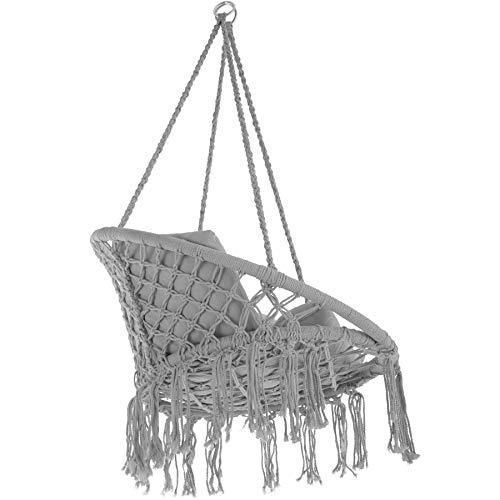 TecTake 800708 Hängesessel zum Aufhängen, Indoor und Outdoor, Ø Sitzfläche: ca. 60 cm, robuste Konstruktion, inkl. großem weichem Kissen – Diverse Farben – (Grau | Nr. 403204) - 8
