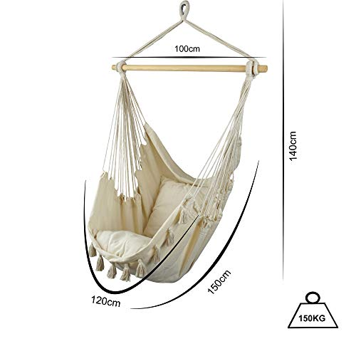 BALU AND CREW Hochwertiger Hängesessel Beige extra große Sitzfläche mit 2 Sitzkissen und Buchtasche inkl. Befestigungsset für Indoor & Outdoor 150kg (Beige) - 3