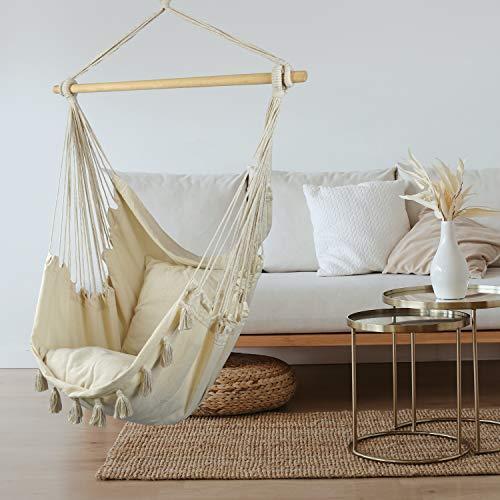 BALU AND CREW Hochwertiger Hängesessel Beige extra große Sitzfläche mit 2 Sitzkissen und Buchtasche inkl. Befestigungsset für Indoor & Outdoor 150kg (Beige) - 5
