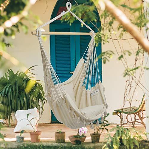 BALU AND CREW Hochwertiger Hängesessel Beige extra große Sitzfläche mit 2 Sitzkissen und Buchtasche inkl. Befestigungsset für Indoor & Outdoor 150kg (Beige) - 7
