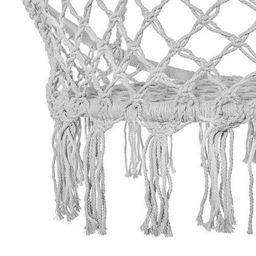 SPRINGOS Hängeschaukel mit Fransen, Hängesessel, geflochten, Baumwolle, Gartenschaukel, Schaukelstuhl zum Aufhängen, mit Seilen und Ringen, für Außen und Innen, Hängekorb (Grau) - 4