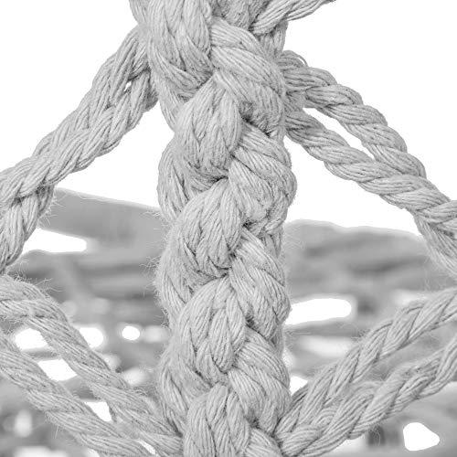 SPRINGOS Hängeschaukel mit Fransen, Hängesessel, geflochten, Baumwolle, Gartenschaukel, Schaukelstuhl zum Aufhängen, mit Seilen und Ringen, für Außen und Innen, Hängekorb (Grau) - 6