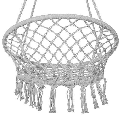 SPRINGOS Hängeschaukel mit Fransen, Hängesessel, geflochten, Baumwolle, Gartenschaukel, Schaukelstuhl zum Aufhängen, mit Seilen und Ringen, für Außen und Innen, Hängekorb (Grau) - 7