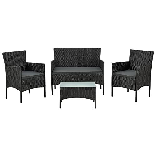 ArtLife Polyrattan Gartenmöbel-Set Fort Myers schwarz – Sitzgruppe mit Tisch, Sofa & 2 Stühlen - Balkonmöbel für 4 Personen mit grauen Auflagen